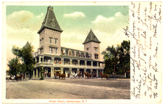Cambridge NY, Main Street ~ West 1900s Photograph - Hotel Union 1907 - NYCA0018 - Richard Clayton Photography - Cambridge Photo - Vintage Photographs