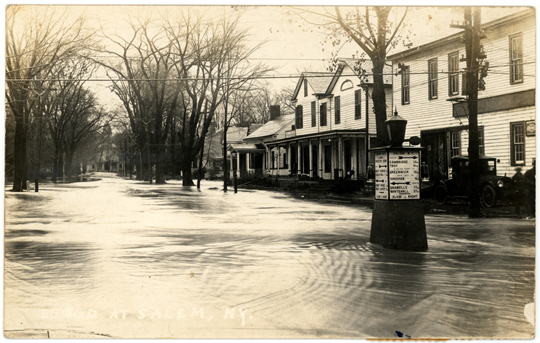 Salem NY, Main Street 1920s Photograph - Noonan's Grocery Store ~ Flooded Street 1927 - NYSA0001 - Richard Clayton Photography - Cambridge Photo - Vintage Photographs