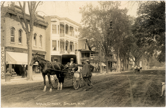 Salem NY, Main Street 1900s Photograph - Dr. Albert Young on Main Street 1910 - NYSA0018 - Richard Clayton Photography - Cambridge Photo - Vintage Photographs