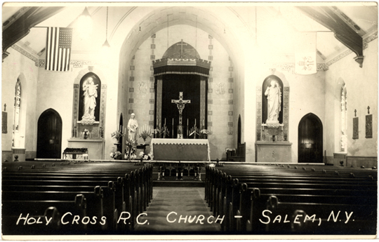 Salem NY, Main Street 1920s Photograph - Inside Holy Cross R. C. Church  - NYSA0019 - Richard Clayton Photography - Cambridge Photo - Vintage Photographs