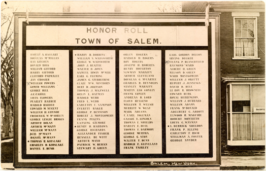 Salem NY, Other 1910s Photograph - Honor Roll Town of Salem  - NYSA0037 - Richard Clayton Photography - Cambridge Photo - Vintage Photographs